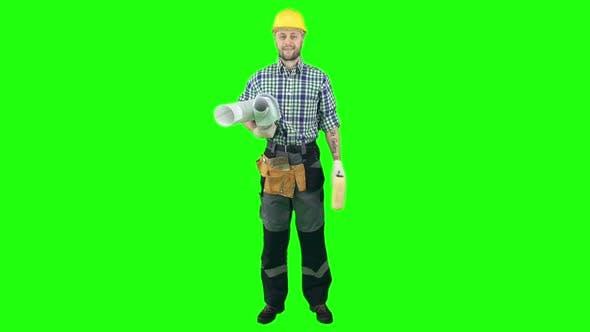 Workman with Blueprints