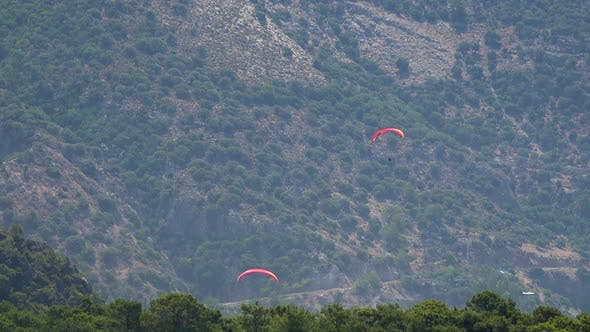 Paragliding Flying Over the Forested Mountain