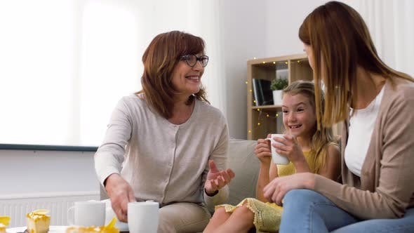 Thumbnail for Mother, Daughter and Grandmother Having Tea Party