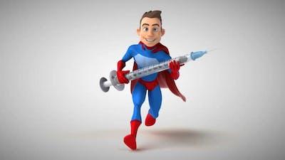 Fun 3D cartoon superhero running with a syringe