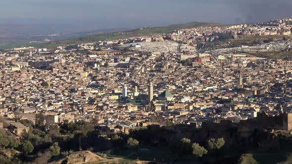 Thumbnail for Panorama of Old Medina in Fes at Sunset, Morocco
