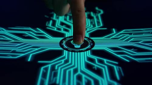 Human Finger Pushes Touch Digital The Light Bulb With Futuristic Artificial Intelligence Spreading