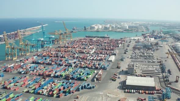 Thumbnail for Aerial View of Industrial Port with Containers