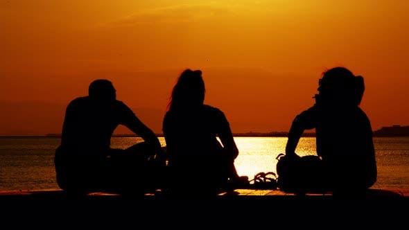 People Silhouette Near The Seaside 2
