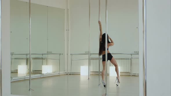 Thumbnail for Beautiful Woman Performing Pole Dance in High Heels Shoes