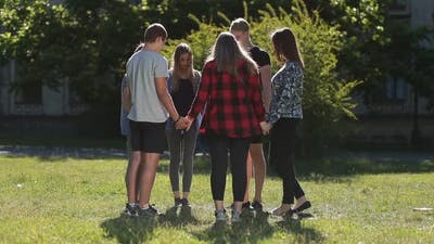 Group of Christian Students Showing Unity