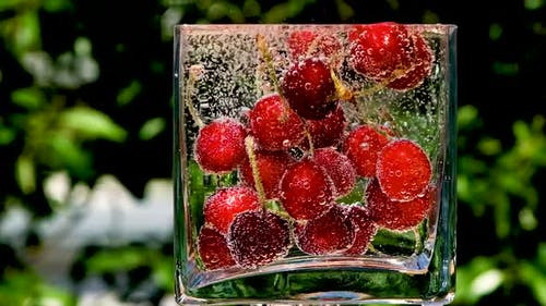 Cherries Super Slow Motion Shot of Falling Cherry Tomatoes Into Water at 1000Fps