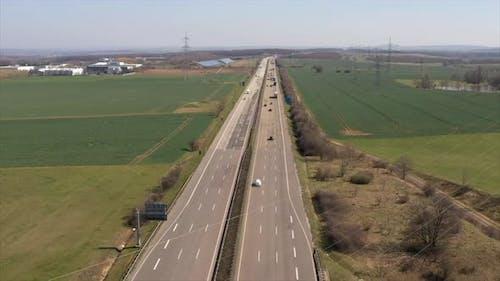 Aerial Drone Hyperlapse of Busy Highway Traffic on German Autobahn Multi Lane Road Hyper Lapse Time