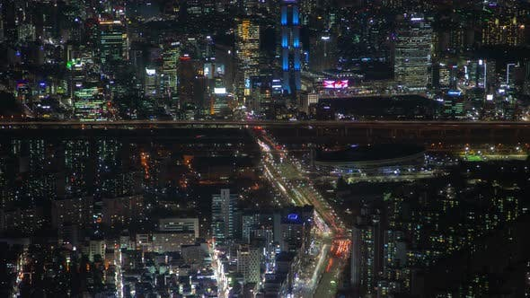 Thumbnail for Timelapse Seoul Highrise Building Flashing Displays at Night