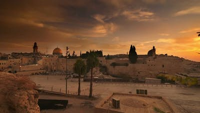 Time lapse of sunrise over Old Jerusalem