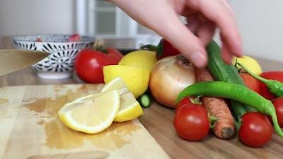 Making Salad Diet Kitchen