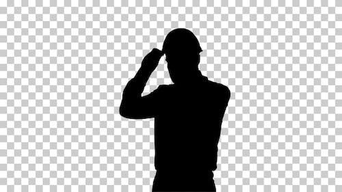 Silhouette Businessman putting hardhat helmet on Safety