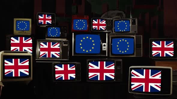 Thumbnail for Uk Flags And Europe Flags On Retro TVs. Brexit Concept.
