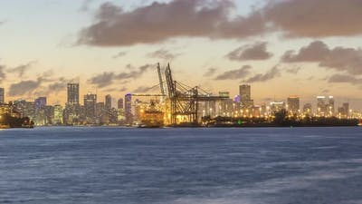 Miami Port and Miami Urban Skyline in Evening