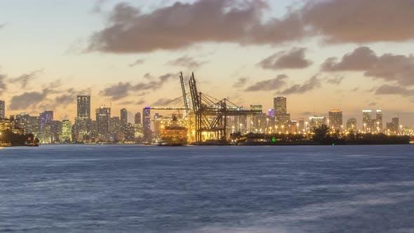 Miami Port and Miami Urban Skyline in Evening