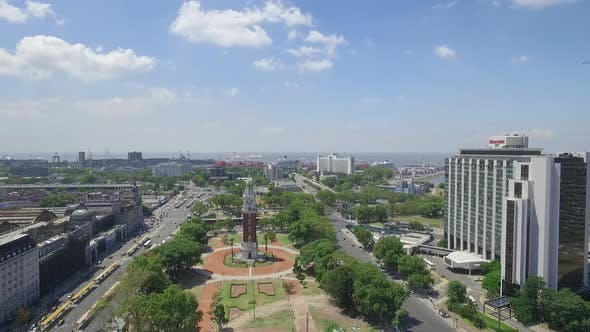 Aerial Drone Scene of Tower Monumental in Buenos Aires - Argentina.