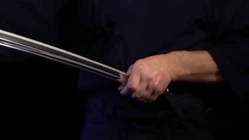 Samurai Sword Katana in Hand. Katana Sword Holding in Samurai Hand Prepare To Flighting