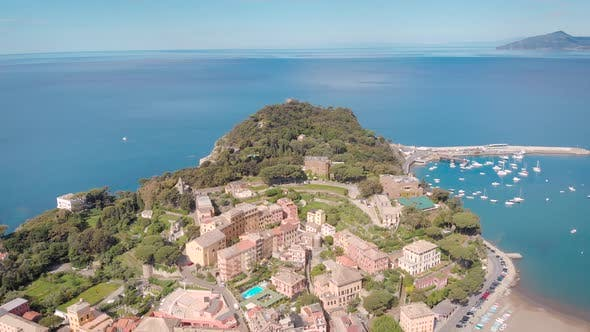 Thumbnail for Aerial Shot. Town in Italian Liguria. Sestri Levante, Resort Town with a Beautiful Bay, and Cozy