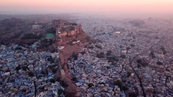 Aerial view Drone 4k of Blue City And Mehrangarh Fort In Jodhpur