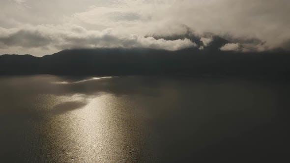 Lake and Volcano at Sunrise Batur