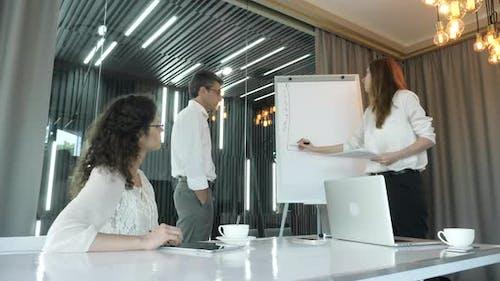 Businesswoman drawing on flip chart