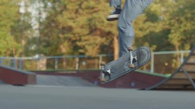 Unrecognizable Skater Failing Kickflip Trick