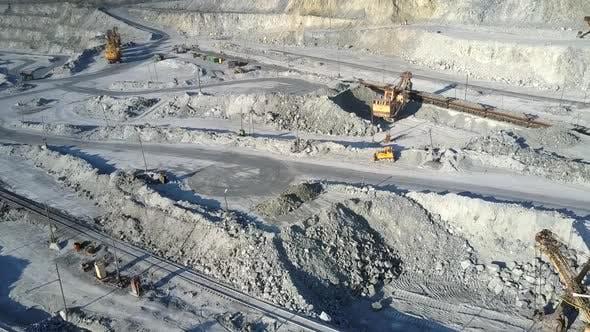 Thumbnail for Excavator Loads Platforms for Rock Transportation on Pit