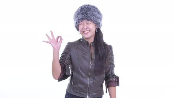 Thumbnail for Happy Beautiful Asian Woman with Ok Sign