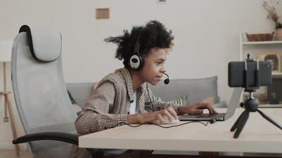 Boy Streaming Playing Video Game