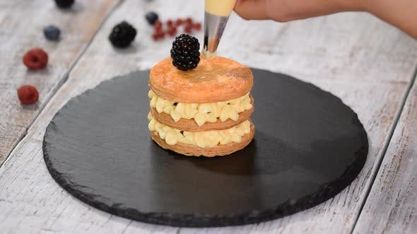 Thumbnail for French dessert millefeuille of puff pastry and custard cream.