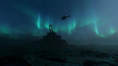 Boat Sinking Aurora Background