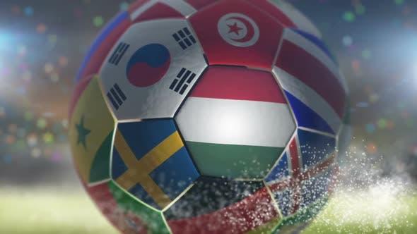 Thumbnail for Hungary Flag on a Soccer Ball - Football in Stadium