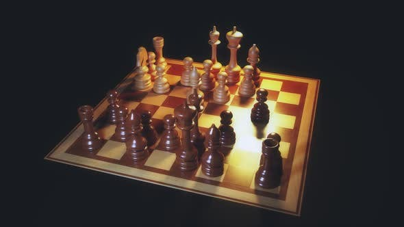 Rotating Top View Chess Board Game Play Background Hd