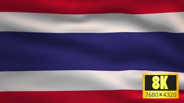 8K Thailand Windy Flag Background