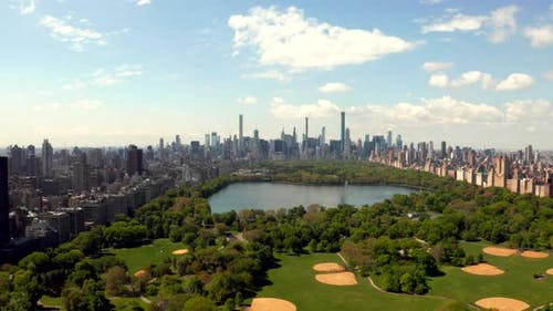 Flying Over Central Park in New York USA