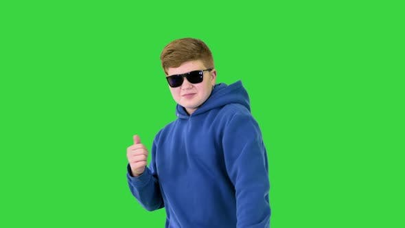 Thumbnail for Cool Boy with Sunglasses Walking and Dancing on a Green Screen Chroma Key