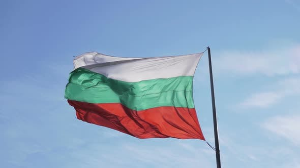 Bulgarian Tricolour Banner Waving on Flagpole