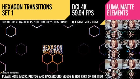 Thumbnail for Hexagon Transitions (4K Set 1)