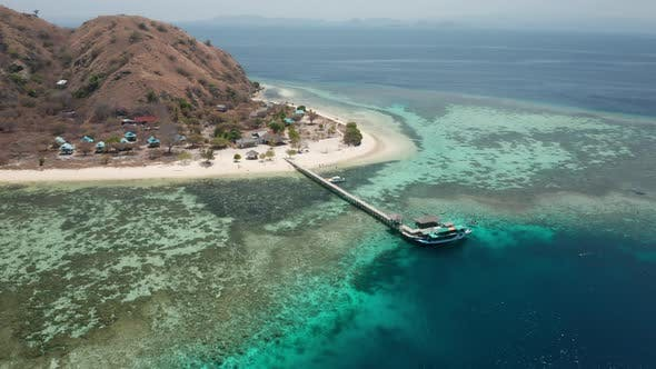 Thumbnail for Drone Of Pier And Tourist Boat On Island