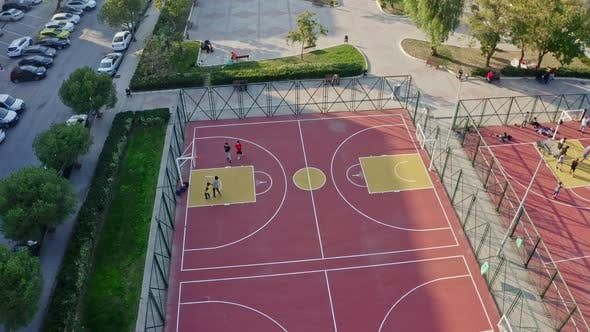 Taking Off From Basketball Court