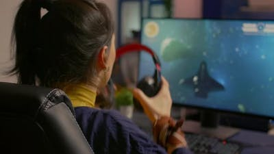 Cyber Gamer Playing Space Shooter Video Game