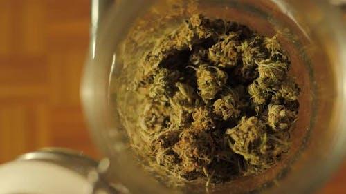 Medizinisches Cannabis, Glas mit getrockneten und behandelten Marihuana-Buds, Medizinischer Geruchsstoff Cannabis aus dem Kühlschrank