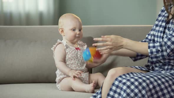 Thumbnail for Funny Active Baby Girl Playing With Mother, Happy Family Enjoying Time Together