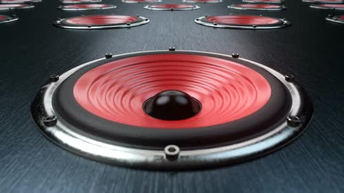 A Lot of Audio Speakers with Red Membranes Playing Synchronously Modern Music