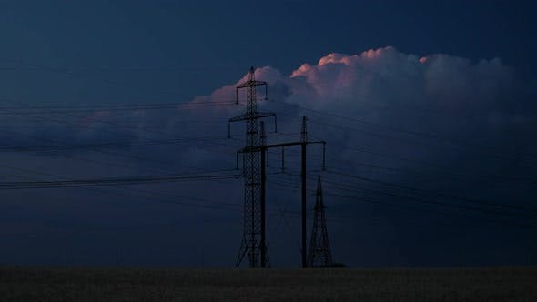 Thumbnail for Electricity Pylons and the Evening Sky