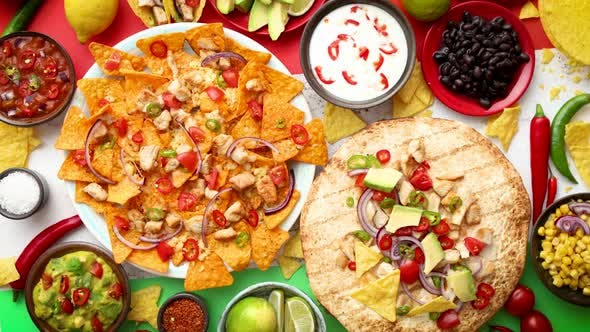 Thumbnail for An Overhead Photo of an Assortment of Many Different Mexican Foods on a Table