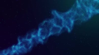 Futuristic wavy galaxy particles in space