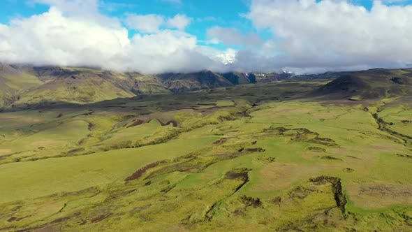 Flying Above the Lava Flows of  Eyjafjallajokull Volcano in Iceland