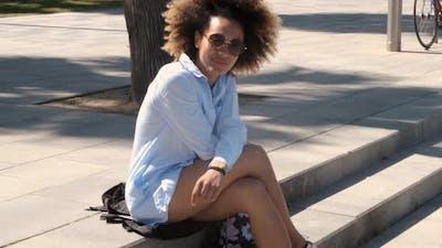 Charming Trendy Black Woman on Street