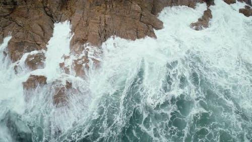 Gigantic Waves Crashes On The Rock